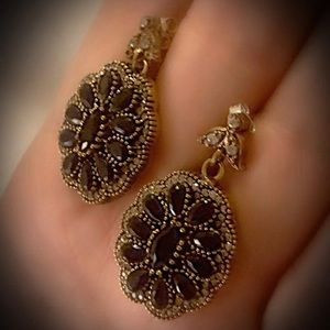Intuitive Midnight Flower Sapphire Silver Earrings